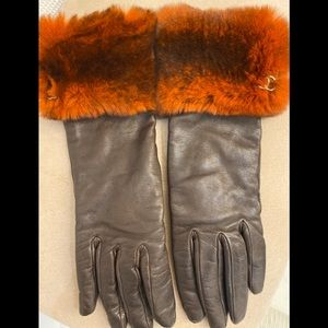 AUTHENTIC CHANEL BROWN LEATHER FUR GLOVES 7